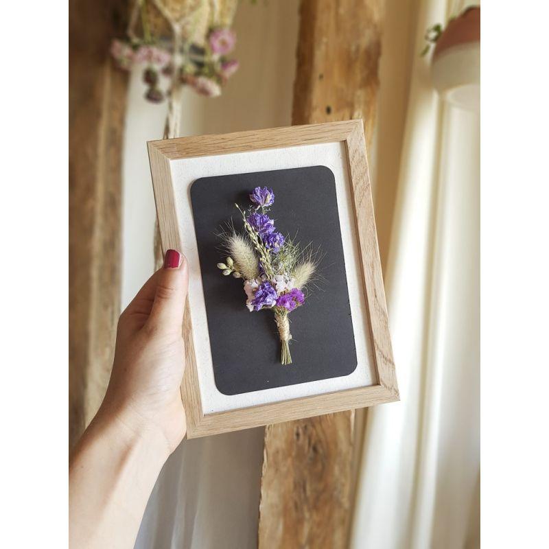 Petit bouquet encadré de fleurs séchées Accueil