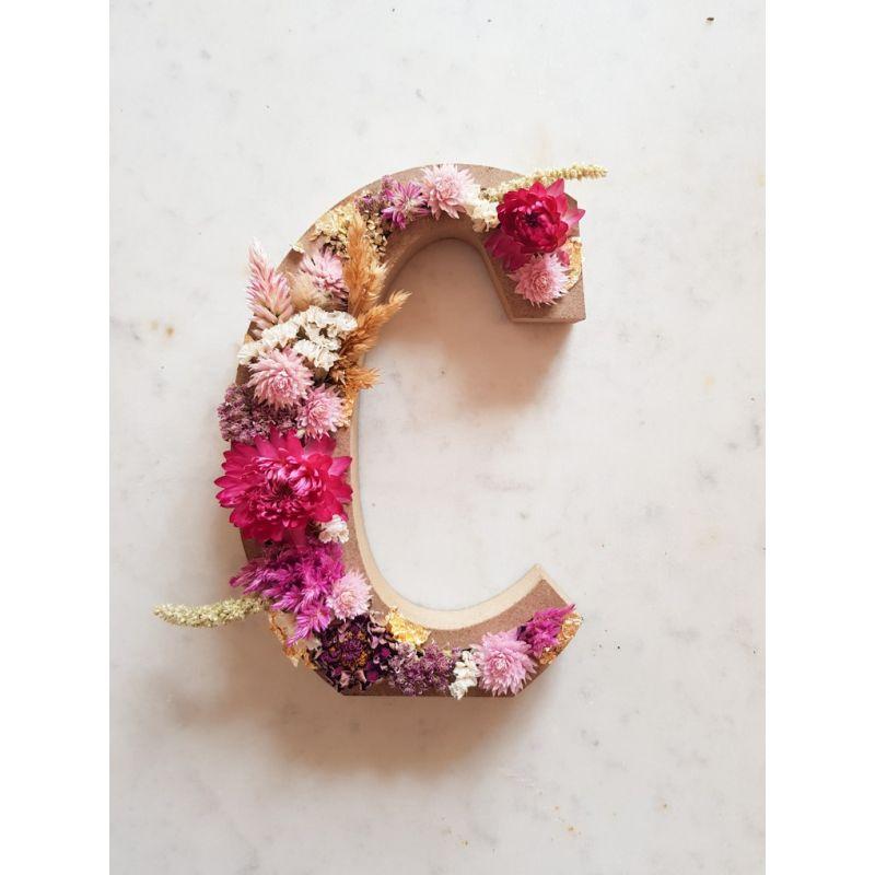 Lettre en fleurs séchées C Lettre fleurie