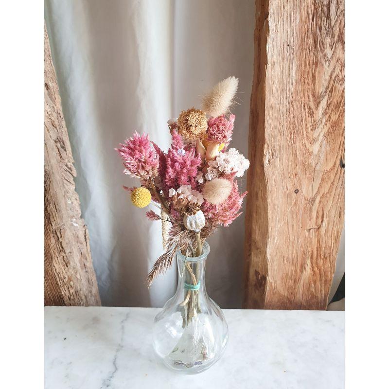 Petit Bouquet de fleurs séchées tons roses Les bouquets
