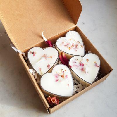 Lot de 4 bougies chauffe plat parfumée en forme de cœur Les bougies chauffe-plat