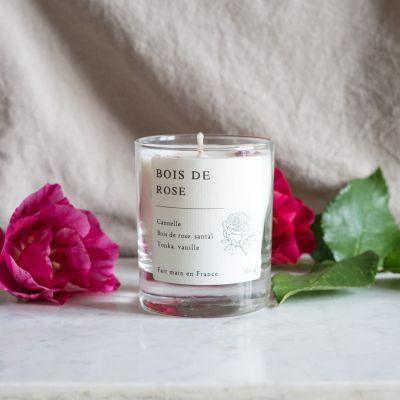 Bois de rose Bougie parfumée cire de colza Bougies
