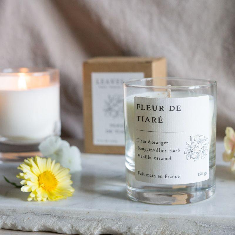 Fleur de tiaré Bougie parfumée en cire végétale Les essentielles