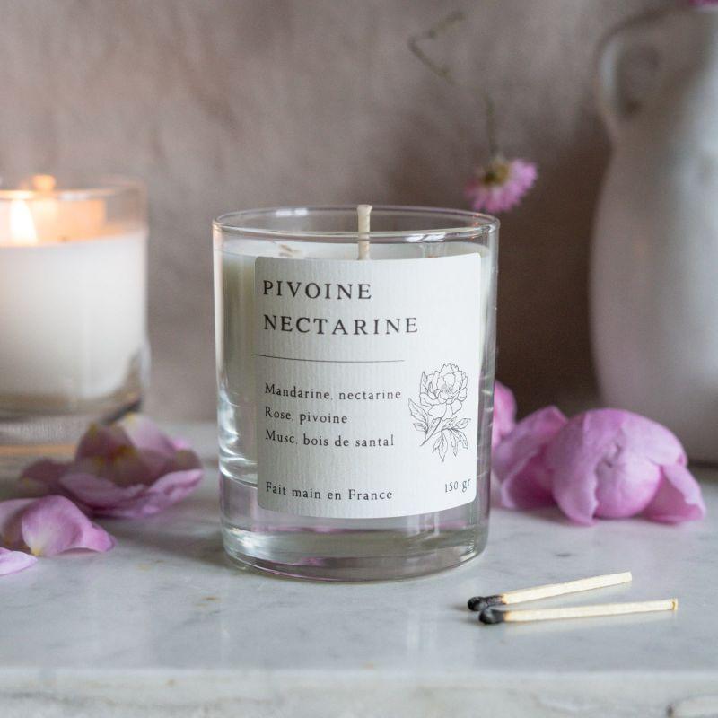 Pivoine et Nectarine Bougie parfumée cire de colza Les essentielles