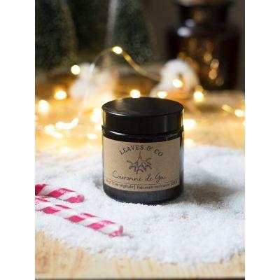 Couronne de Gui - Bougie parfumée pot ambré Boutique de Noël